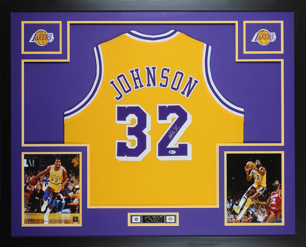 62729a78dbc Magic Johnson Autographed Yellow Los Angeles Lakers Jersey - Beautifully  Matted and Framed - Hand Signed By Magic Johnson and Certified Authentic by  Beckett ...