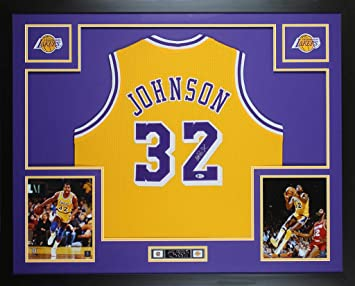 ee4a61fbc7a Magic Johnson Autographed Yellow Los Angeles Lakers Jersey - Beautifully  Matted and Framed - Hand Signed