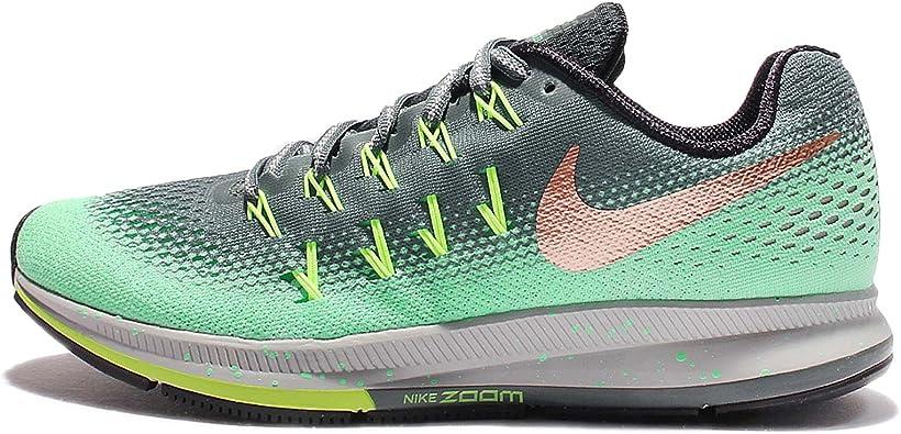 Nike Air Zoom Pegasus 33 Shield 849567-300 - Zapatillas de running, Mujer, Varios colores (Hasta / Mtlc Red Bronze / Green Glow), 38.5 EU: Amazon.es: Zapatos y complementos