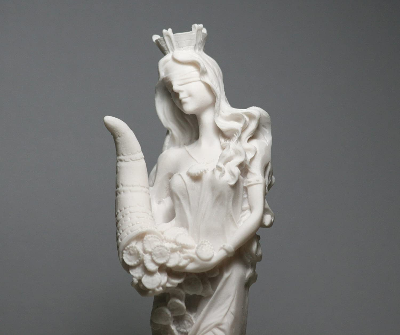 BeautifulGreekStatues Diosa de la riqueza Tyche Lady Luck Fortuna Estatua pintada a mano de Alabastro 8.6