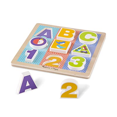 Melissa & Doug First Play Wooden ABC-123 Chunky Puzzle (9 pcs): Toys & Games