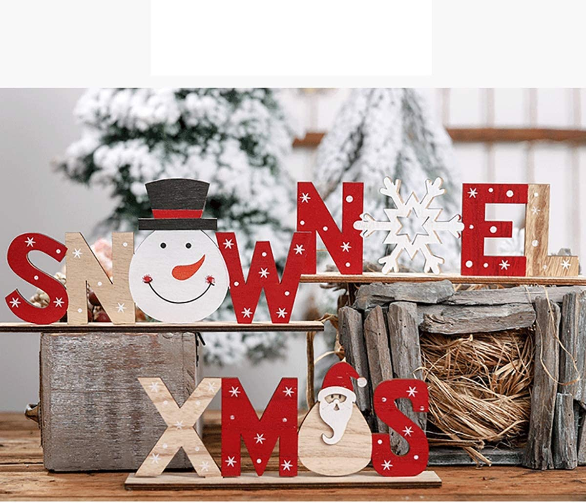 iSuperb  2 St/ück Weihnachten Deko H/ölzerne,Christmas Decorations Wooden Christmas H/äuser Desktop Ornaments,Weihnachtsfeier DIY Handwerk Hausgarten Dekoration