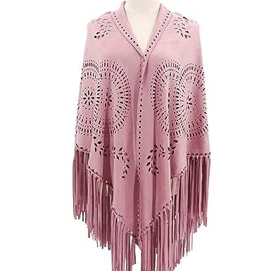82d2d5e40 ZOFZ Fashion Suede Laser Cut Fringed Cape Shawl Wrap Scarf 4 Colors (Pink)