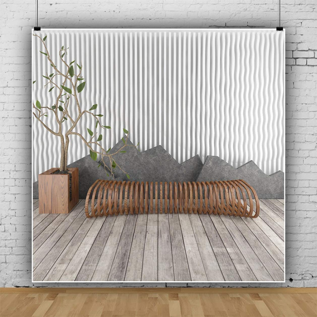 YEELE Living Room Interior Photography Backdrop 9x9ft Stylish and Simple Design Wooden Sofa Background Modern House Indoor Home Kids Adult Portrait Photo Studio Props Wallpaper