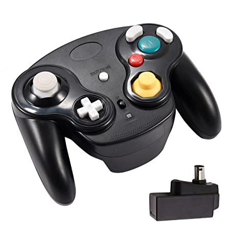 Veanic 2 4G Wireless Gamecube Controller Gamepad Gaming Joystick with  Receiver for Nintendo Gamecube,Compatible with Wii (Black)