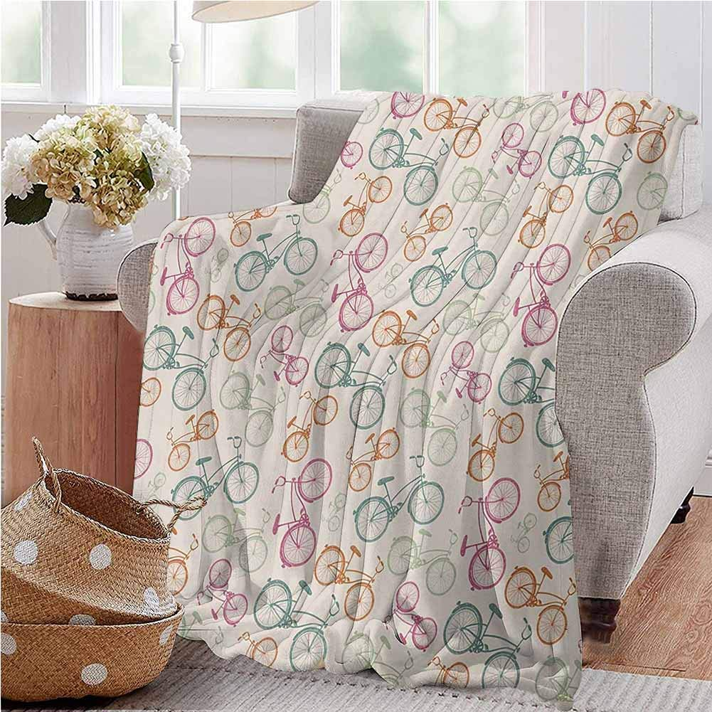 Bicycle Silky Soft Plush Blanket Sketch Bikes in Retro Colors Hipster Pattern Pedals Wheels Urban Life Theme Vintage Gifts to Your Family,Friends,Kids 60x80 Inch Multicolor Twin Size