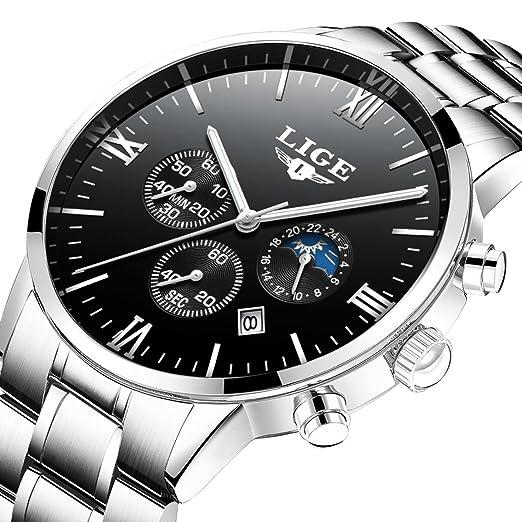 Relojes hombres Lige imitación relojes deporte cuarzo Casual con cronógrafo resistente al agua fecha: Amazon.es: Relojes