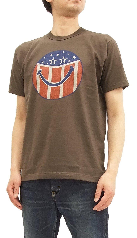 TOYS McCOY Men's Short Sleeve T-Shirt Smiley Face Stars & Stripes Tee TMC1803 Faded Dark Charcoal Japan L (US S-M/UK 36-38)