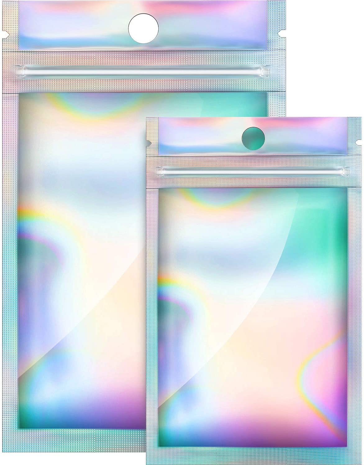200 Pieces Resealable Smell Proof Bags Flat Ziplock Bag Self Sealing Foil Pouch Bag 2.3 x 3.9 Inch and 3 x 5 Inch Mylar Zip Lock Food Candy Storage Bags Holographic Rainbow Color