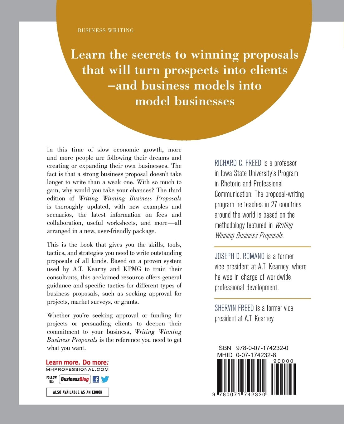 writing winning business proposals third edition richard c freed shervin freed joe romano 9780071742320 amazoncom books