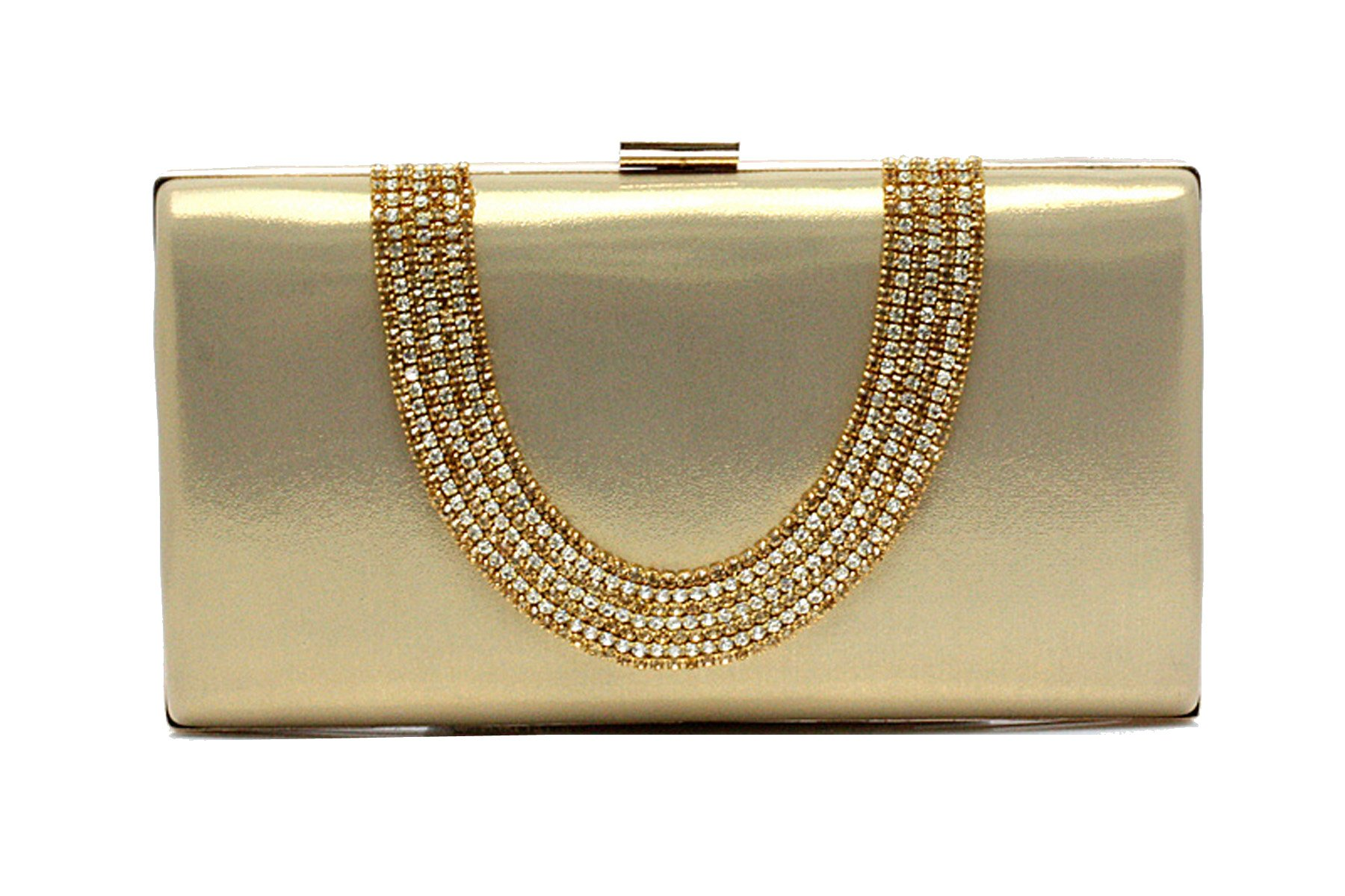 EPLAZA Large Capacity Rhinestone Beaded Women Evening Clutch Bags Handbags Wedding Party Purse (gold)