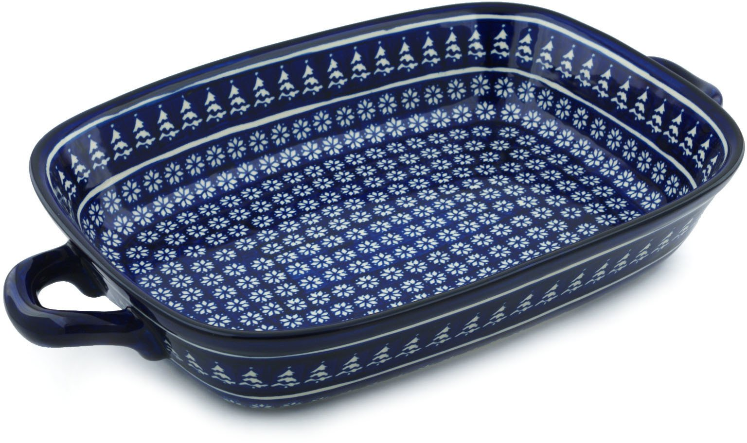 Polish Pottery Rectangular Baker with Handles 19-inch Winter Night by Polmedia Polish Pottery