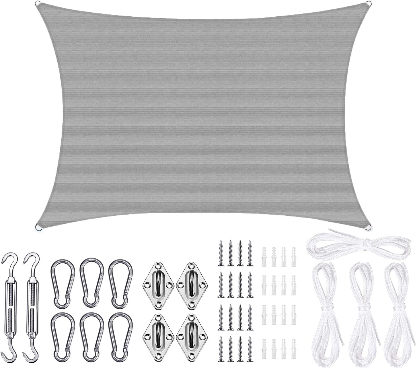 Sposuit 10' x 13' Rectangle Sun Shade Sail with Hardware Kit Set - UV Block Canopy Shade Cover for Deck Patio Pool Yard Garden Outside, UV-Resistant, Grey