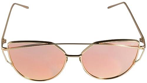 Cateye Gafas De Sol En Oro/rosa Espejo UV400Retro Vintage gato ojos Mode Fahsion metal marco Sunglas...