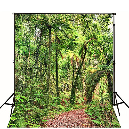 1.5x2.1m(5X7ft) Rainforest Scenic Backdrops Red Maple Leaf Jungle Trail Background Tall Trees Green Leaves Digital Studio Background for Studio (Jungle Trees Backdrop)