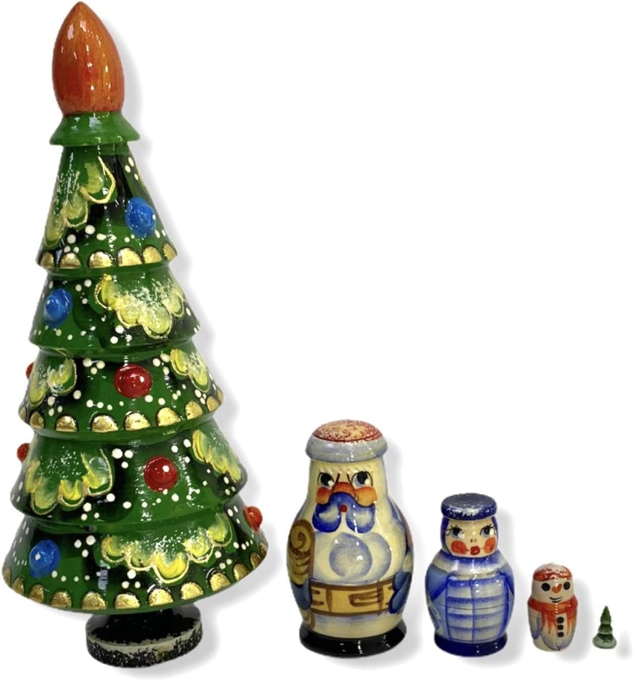 Nesting Doll Christmas Set - Christmas Tree, Russian Santa Claus, Snow Maiden, Snowman and a Small Christmas Tree. It is Carved from Wood and Painted by Russian Craftsmen.Handmade in Russia.