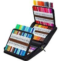100 Colors Dual Tips Markers Set, Ohuhu Art Coloring Brush Fineliner Color Marker Pens, Water Based Marker for…