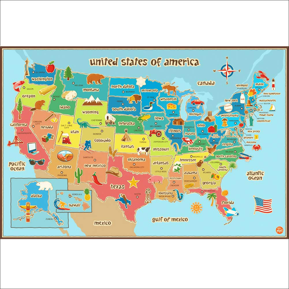 USA Map Wall Sticker 50 States Name of America Map Decal ...