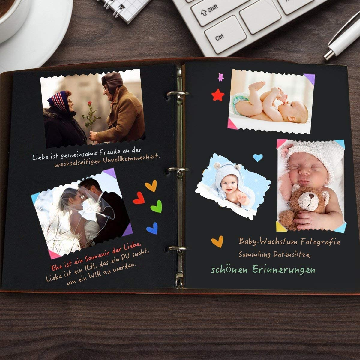 MOHOO Album Photo Vintage Livre Photo Album DIY M/émo Album-souvenir Livre comm/émoratif 30 pages noires pour cadeau No/ël anniversaire m/émoire de famille Rouge