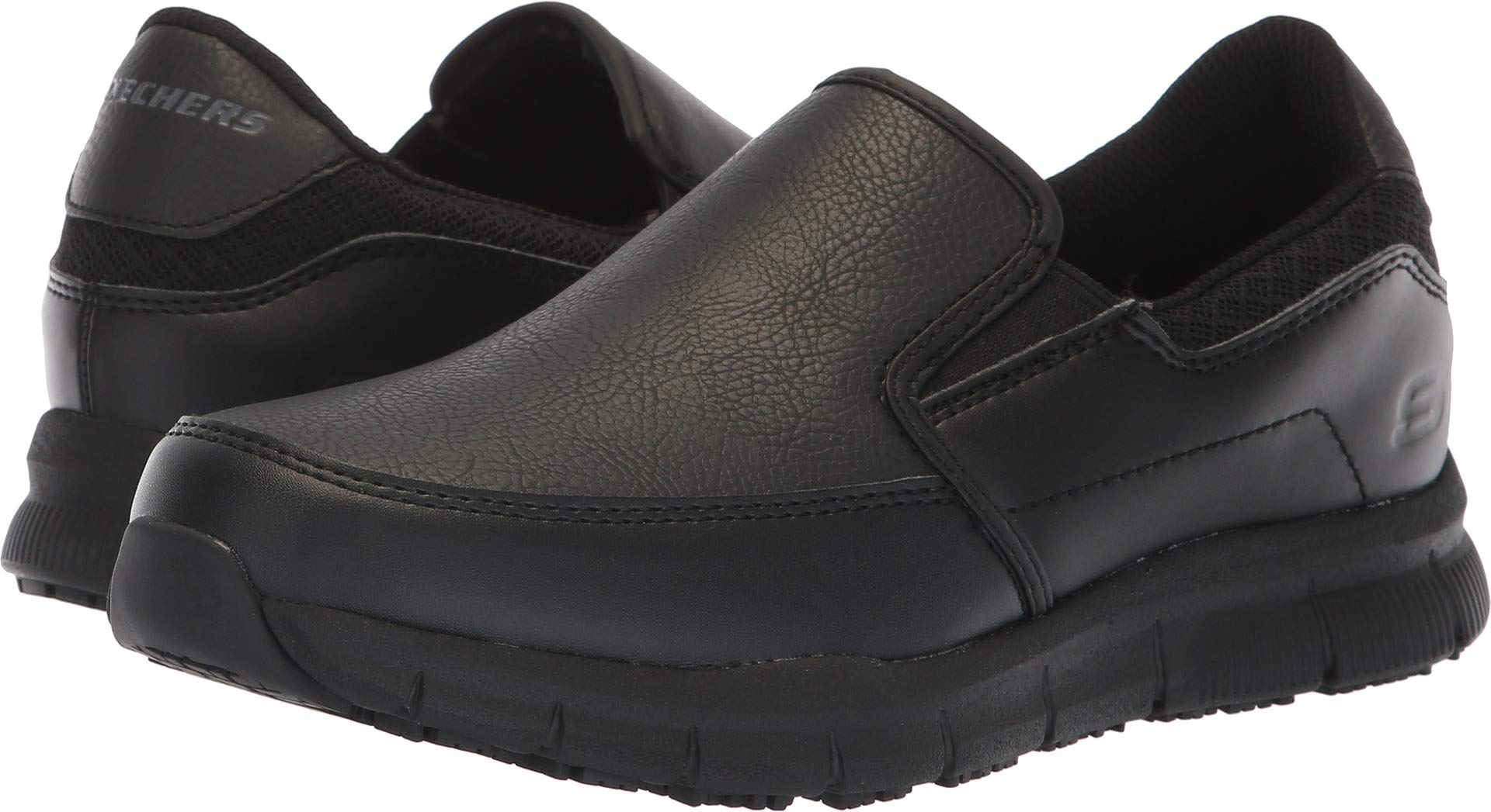 Skechers for Work Women's Nampa-Annod Food Service Shoe,Black Polyurethane,9 M US by Skechers