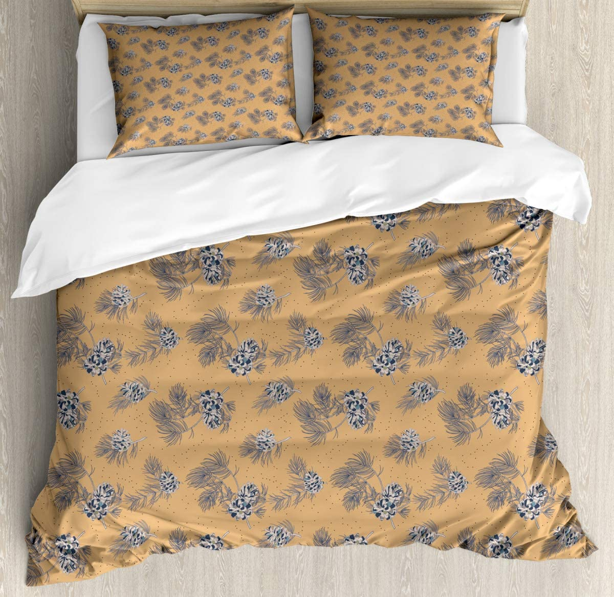 """Decor Duvet Cover Set King SizeVintage Style Branches Duvet Cover SetCustom 3 Piece Bedding Set with 2 Pillow Shams, King Size70 x86/19""""x29""""inch"""