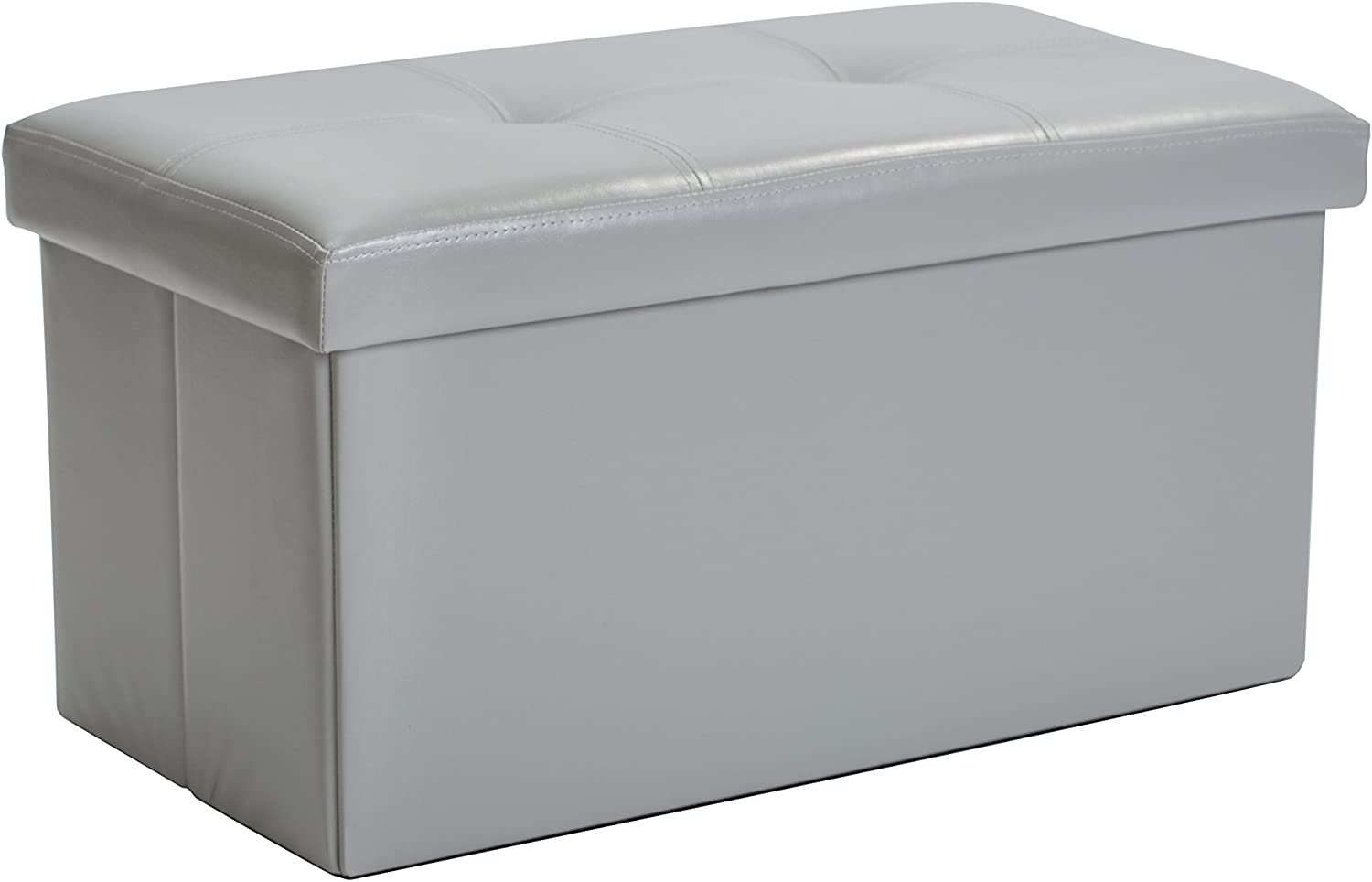 Simplify Folding Storage Ottoman, Toy Box Chest, Faux Leather,Tufted Padded Seating, Bench, Foot Rest, Stool, Double, Grey