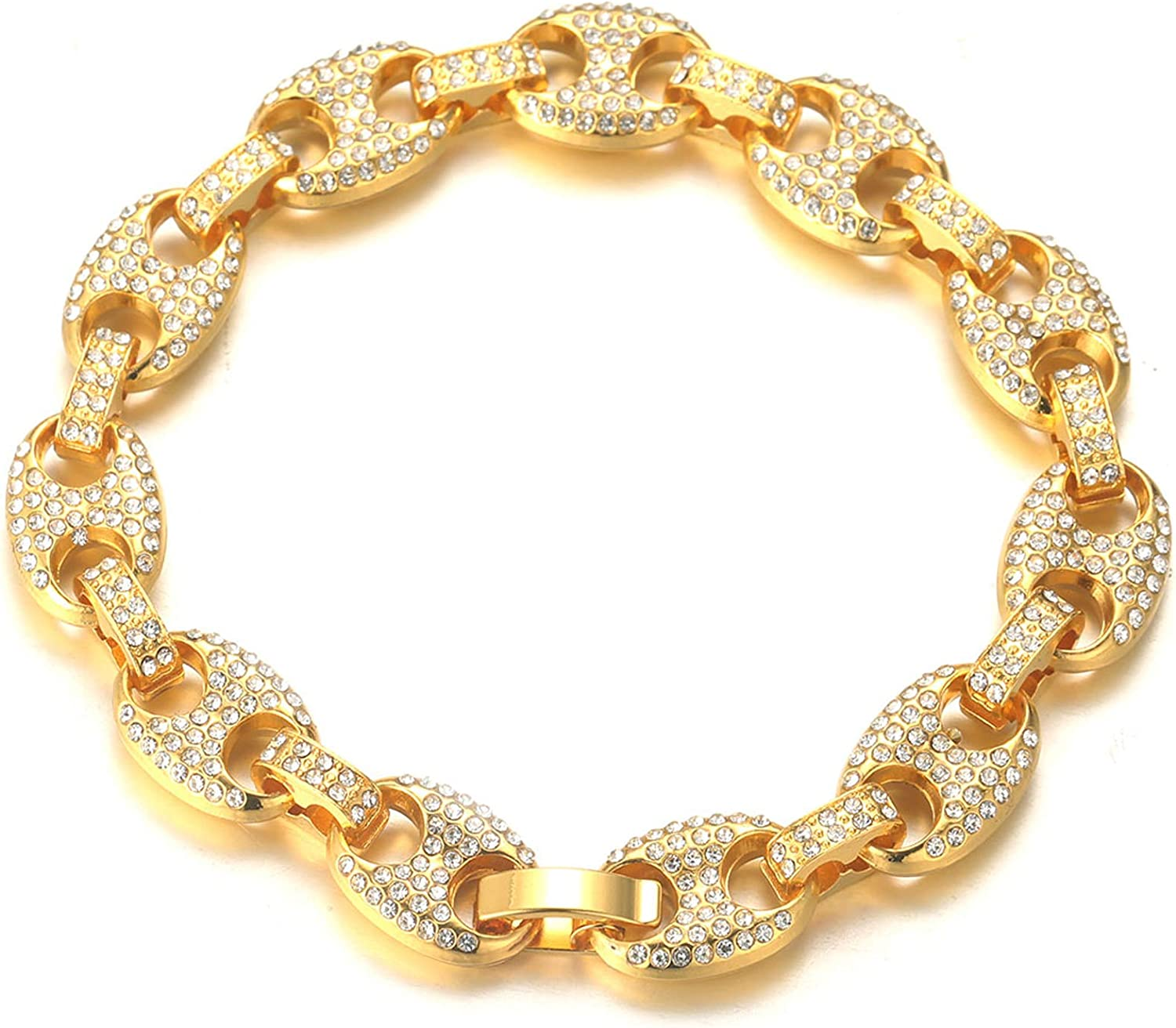 Gold Chain for Men Iced Out,Men's 11MM 18k Real Gold Plated/Platinum White Gold Finish 11MM Miami Cuban Link Coffee Bean Chain Choker Necklace Bracelet,Full Cz Diamond Cut Prong Set,Gift for Him