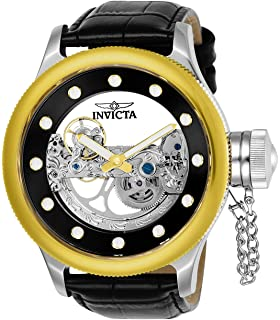 Invicta Mens Russian Diver Stainless Steel Automatic-self-Wind Watch with Leather Calfskin Strap