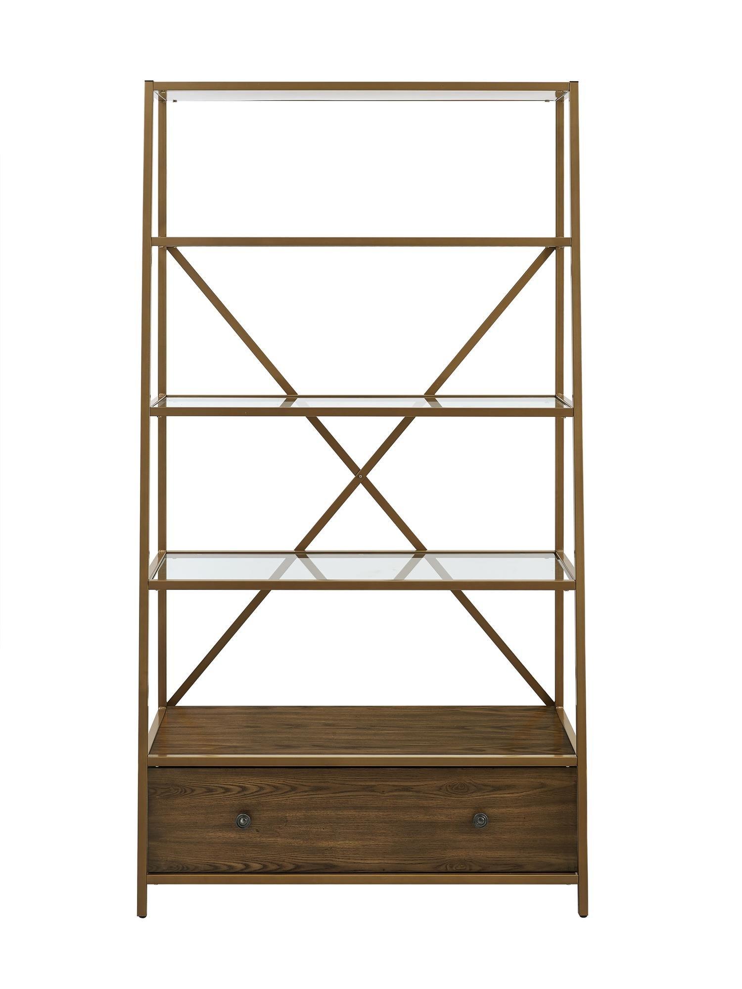 Dorel Living Moriah Pyramid Bookcase Etagere, Brass by Dorel Living