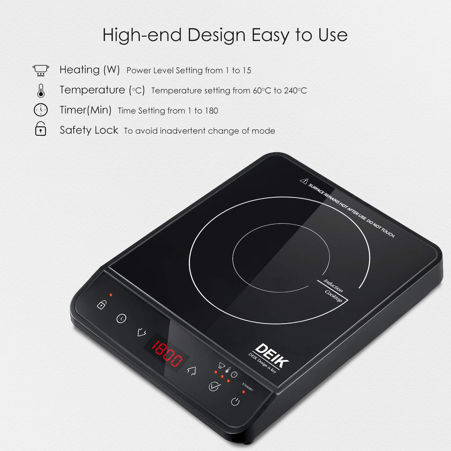 Induction Cooktop, Deik Induction Burner 1800W Sensor Touch with Child Safety Lock, Portable Induction Cooktop with Timer and 10 Temperature Settings, Suitable for Home Kitchen, RV, Boats, Garden by Deik (Image #4)