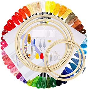 iZiv Full Range of Embroidery Starter Kit Including 5 Pieces Bamboo Embroidery Hoops, 50 Color Threads, 2 Pieces 12 by 18-Inch 14 Count Classic Reserve Aida and Cross Stitch Tool Kit for Beginners