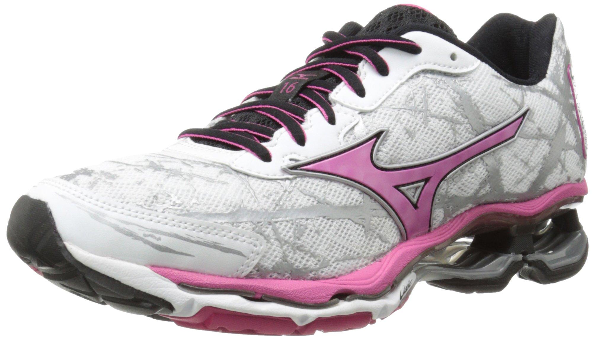 Mizuno Women's Wave Creation 16 Running Shoe, White/Fuchsia Purple, 6 B US