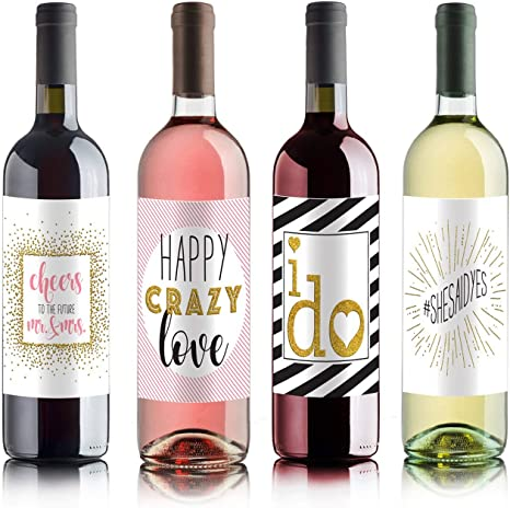 SET of 24 Personalized Wine Bottle Labels Winter Classic Wedding Winery Customized Stickers Rustic Destination Country Bridal Shower Favors