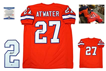 714148938 Steve Atwater Signed Custom Jersey - Beckett - Autographed w/ Photo - Orange