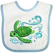 Inktastic - Sea Turtle Swimming Baby Bib White/Blue 2e782