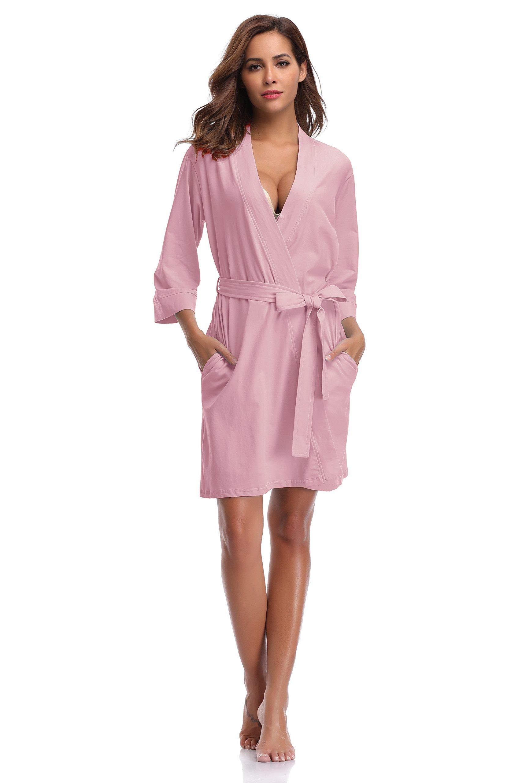 Luvrobes Women's Cotton Knit Kimono Robe (Light Pink, Large) by Luvrobes (Image #1)