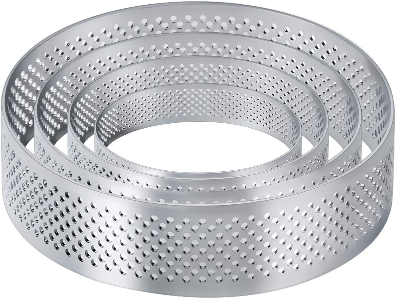 Details about  /Kitchen Tool Tart-Ring Round Round 5Sizes Ring Cake Stainless Perforated