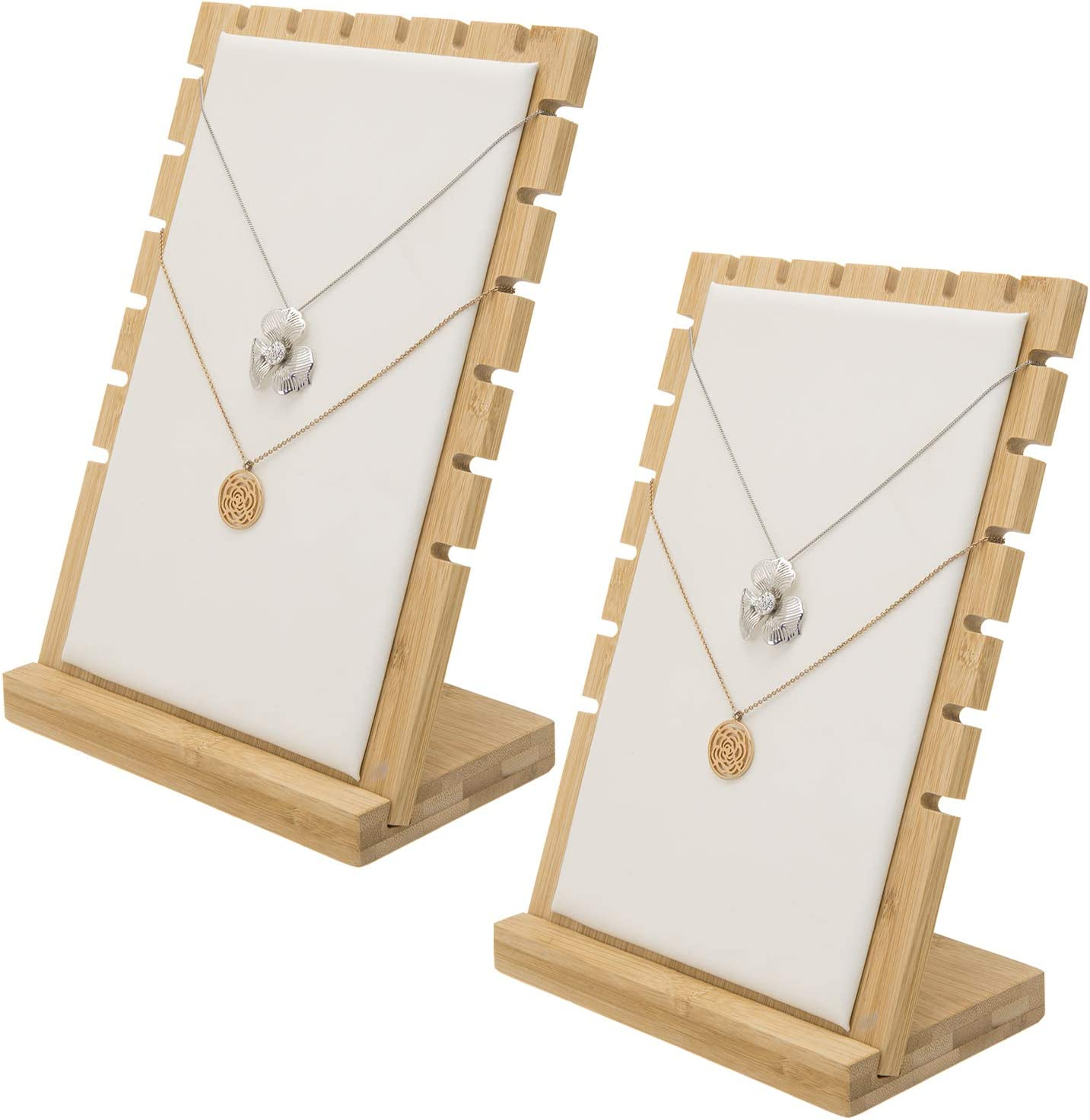 MyGift Bamboo & White Panel Jewelry/Necklace Tabletop Display Boards, Set of 2