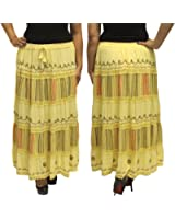 BombayFashions Women's Ankle Length Embroidered Bohemian Gypsy India Skirt