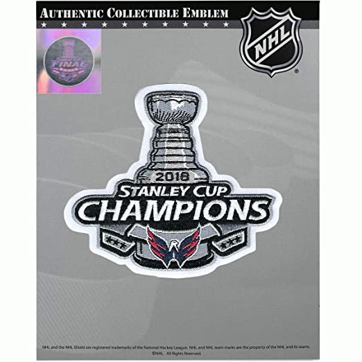 bf27ed662 Amazon.com : National Emblem 2018 NHL Stanley Cup Final Champions Washington  Capitals Jersey Patch : Clothing