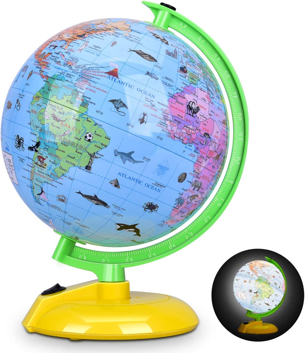 Illuminated World Globe For Kids 8 Desktop Globe Led Night Light With Stand Colorful Easy Read Battery Operation Globe Map Learning Tool Educational Gift For Student Office Products