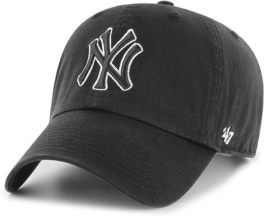 '47 يورك يانكيز تنظيف أب قبعة أب أب كاب أسود/أبيض مخطط