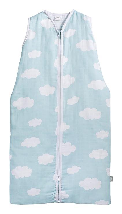 Jollein 048 – 516 – 65055 Saco de dormir Verano 90 cm, Mull Clouds Jade