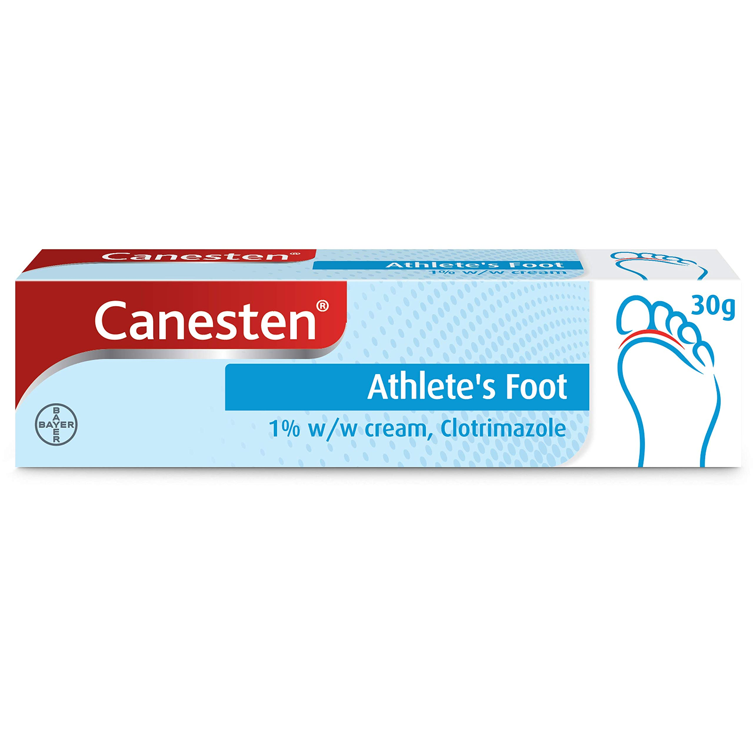 Canesten Athletes Foot Cream, Dual Action, Clotrimazole, Antifungal Cream, Antibacterial Cream, For the Treatment of Athlete's Foot 30 g