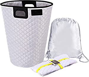 """LennyYOU X-Large 23"""" Premium Handmade Laundry Hamper with Extra Inner Washable Bag, Linen Oxford Fabric Basket, Handcrafted Collapsible Clothes Hamper, Laundry Basket -15gal with Handles"""