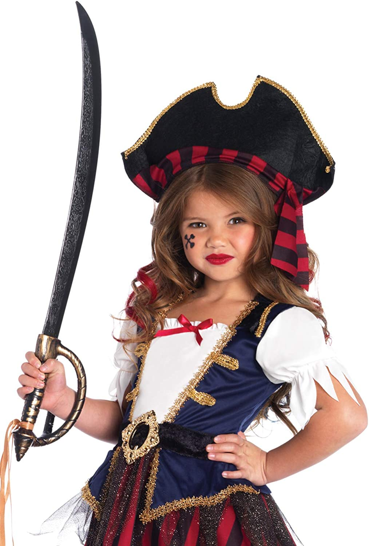Boys Red Pirate Fancy Dress Costume Caribbean Treasure Hook