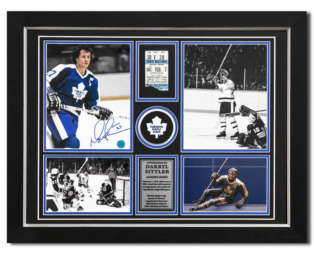 Darryl Sittler Toronto Maple Leafs Signed Autograph 10 Point Night Ticket Stub 21x28 Frame Certificate of Authenticity Included
