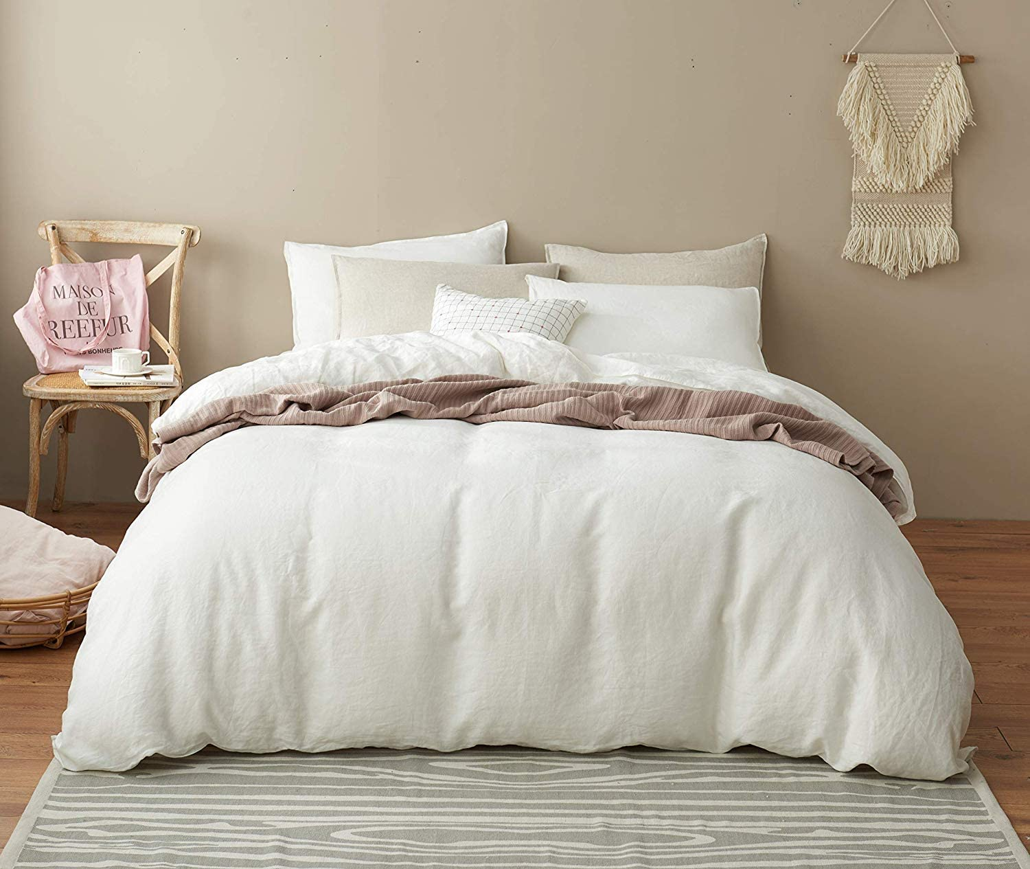 DAPU Pure Linen Duvet Cover Stone Washed European Flax(Full/Queen, Off White, Duvet Cover and 2 Pillowcases