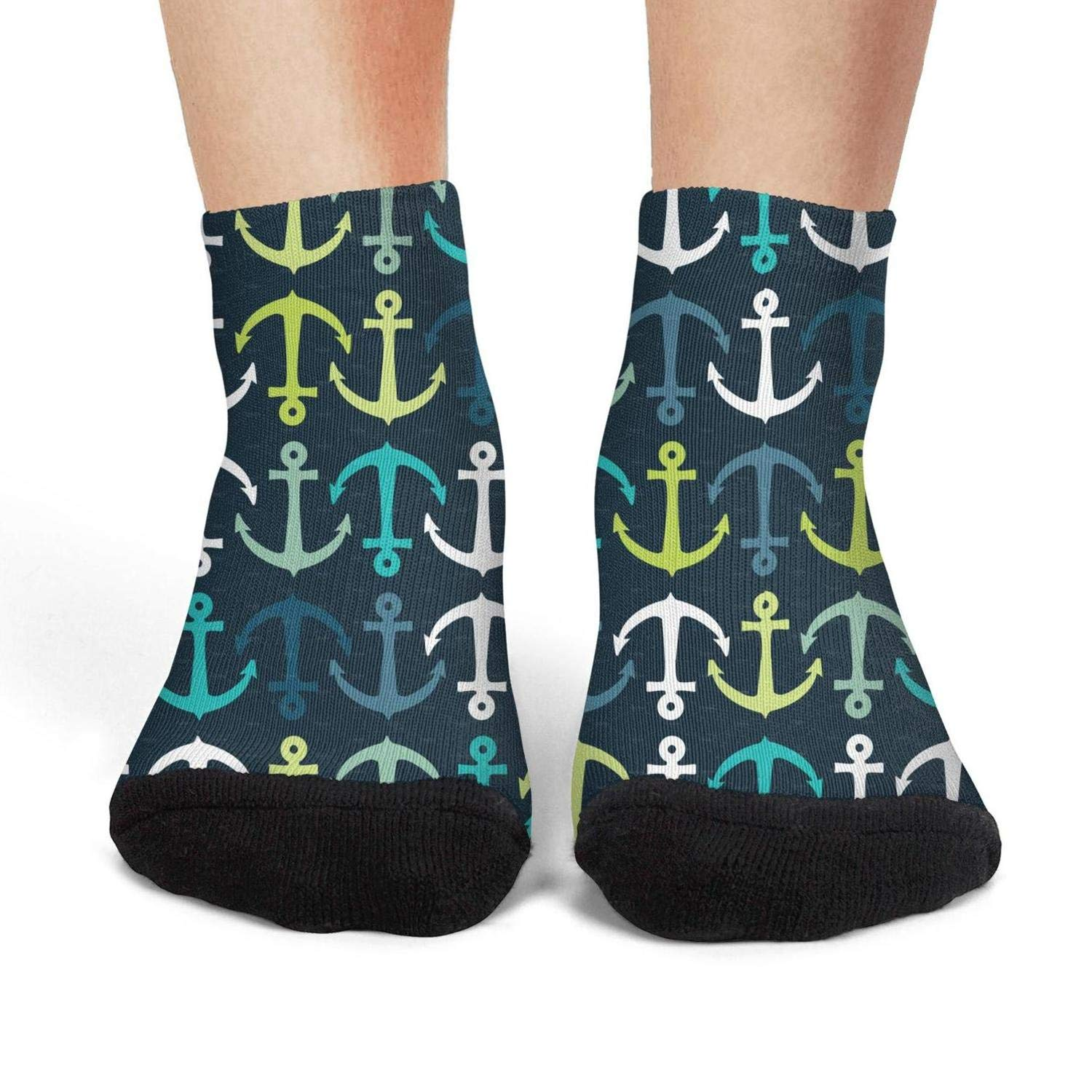 Mens athletic low cut Ankle sock Colorful Nautical Anchor Non-Slip Breathable Short Sock