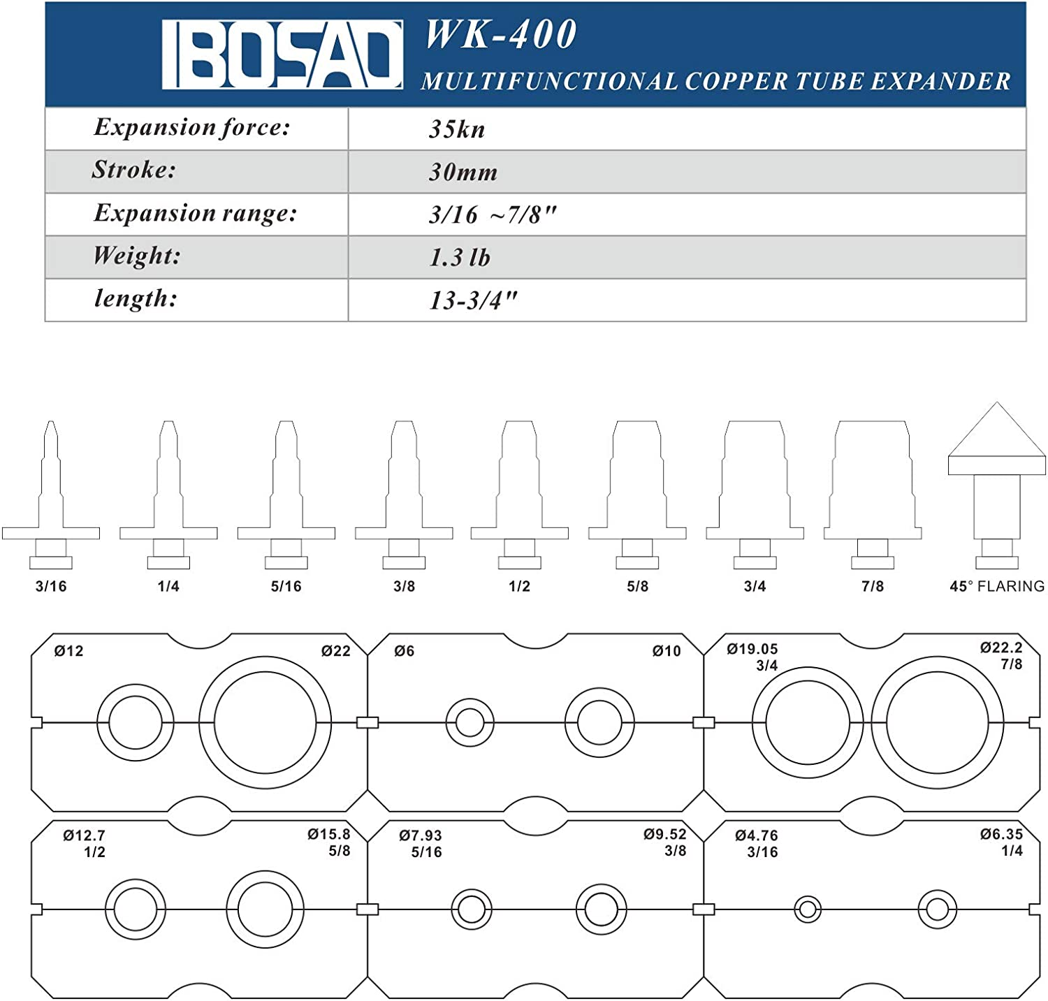 IBOSAD 2 in 1 Hydraulic Flaring and Swaging Tool Kit for 3//16 1//4 5//16 3//8 1//2 5//8 3//4 7//8 inch Soft HVAC Copper Tube Extrusion Tool,Not for Brakeline Fuel Transmission Automotive Brake Line